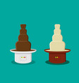 cheese and chocolate fondue in flat style vector image