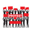 protest by group of protester silhouette on white vector image