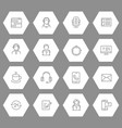 support or contact centre line icons collection vector image
