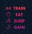 train eat sleep poster for gym vector image