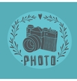 Vintage label with photo camera vector image