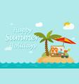 happy summer holidays text on paradise sand island vector image