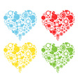 4-color round heart- heart with set of circles vector image