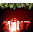 2017 New Year red background vector image