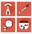 Set of flat icons with long shadow Christmas vector image