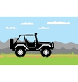 SUV rides on background of mountains vector image vector image