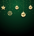 Christmas Golden Hanging Balls on Dark Green vector image