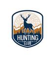 deer hunting heraldic badge for hunt club design vector image