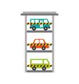 parking building car bus van vehicle commercial vector image