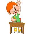 Schoolboy raising hand vector image