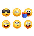 smiley face icons funny faces 3d collection 4 vector image