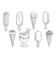 Ice cream isolated pencil sketch vector image