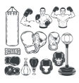 Set boxing icons isolated on white vector image