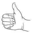 hand with thumb finger up victory and ok symbol vector image
