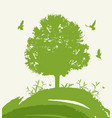 green tree and birds vector image