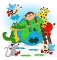 animals puzzle earth vector image