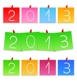 Paper notes with numbers 2013 vector image
