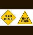 beach closed sign yellow triangle and rhombus vector image