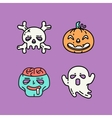 Flat linear Halloween icons set vector image