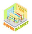 supermarket juices department isometric vector image
