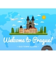 Welcome to Prague poster with famous attraction vector image