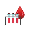 blood drop cardiogram and test tubes icon vector image