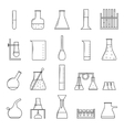 Chemical Test Tubes Thin Line Icon Set vector image