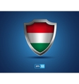 Hungary shield on the blue background vector image