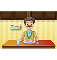 Old man eating in the dining room vector image