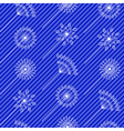 Abstract white flowers over blue strip seamless vector image