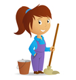 cleaning girl vector image
