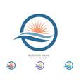 icon logo template sun over horizon vector image