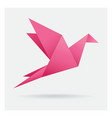pink bird paper craft flying in frame art vector image