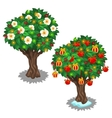 Festively decorated trees with glowing garland vector image