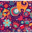 Flowers seamless pattern with decorative elements vector image