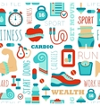 Fitness seamless patterns with sport elements and vector image
