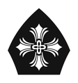 Papal tiara hat with cross icon simple style vector image