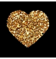 Gold heart glittering isolated on black background vector image