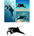 manta ray set vector image