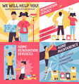 renovation advertising compositions set vector image vector image