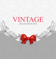 Vintage background with red bow vector image
