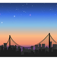Silhouette city view with a bridge vector image vector image