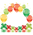 colorful festive balloons and gift boxes vector image vector image