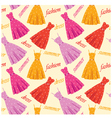 Seamless summer dresses pattern vector image vector image