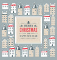 christmas card with town and snow vector image