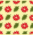 christmas decorative leaves holly branches with vector image