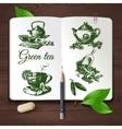 Hand drawn sketch tea set vector image