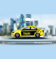 realistic taxi car infographic urban city vector image
