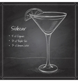 Sidecar cocktail on black board vector image