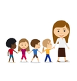 Teacher with kids on white background vector image